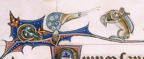A marginal illustration from the Gorleston Psalter, showing a snail in combat with an armed monkey.