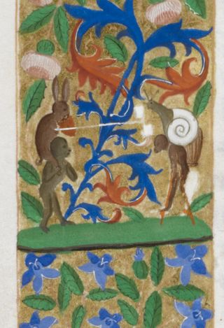 A border detail from the Harley Froissart, showing a rabbit, monkeys, and a snail jousting.