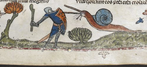 A marginal illustration from the Smithfield Decretals, showing a knight in combat with a snail.