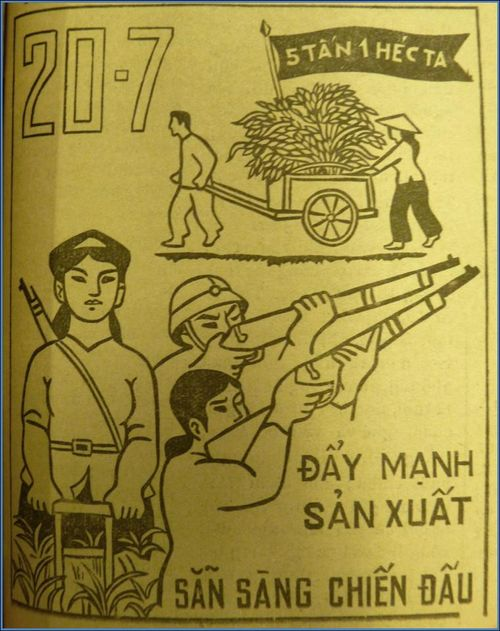 'Push up production, prepare for fighting the war'. Hải Dương Mới, 21 July 1965, front page. British Library, SU224/18.