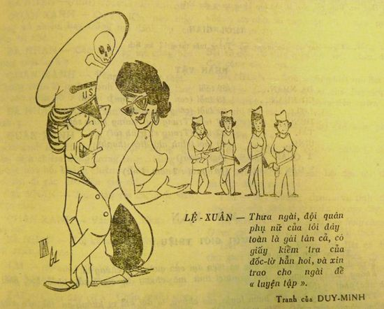 """Madam Ngô Ðình Nhu presents her female army: 'Your Excellency, my female soldiers are all virgins. They all have a doctor's certificate to prove it, and are ready to be handed over to Your Excellency for """"practice""""'. Văn Nghệ Quân Ðội, no.12, December 1962, page 27. British Library, 16684.a.3."""