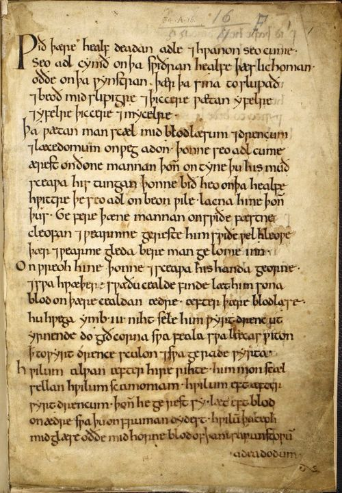 The opening page of an Anglo-Saxon miscellany containing medical recipes.