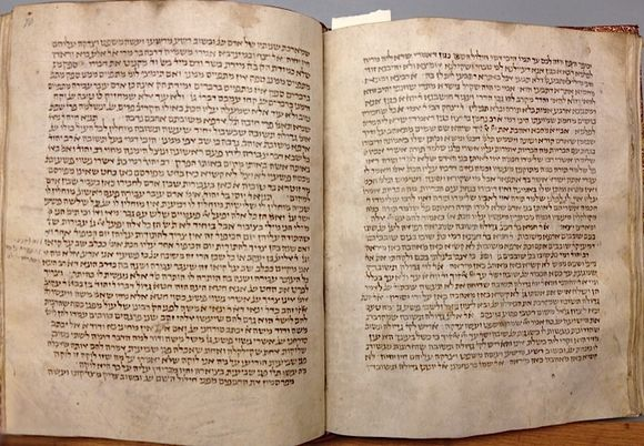 A 12th or 13th century copy of the Babylonian Talmud. The Talmudic period in Babylonia largely overlapped with the Sasanian empire (224-651 AD) and during this period the Babylonian rabbis shared numerous intellectual and cultural concerns with their neighbours, the Zoroastrian priests at Ctesiphon, capital of the Sasanian empire. These affected matters of civil and criminal law, private law, theology, and even ritual (British Library, Harley 5508, ff.69v-70r)