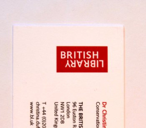 Part of a standard British Library business card. The British Library logo is visible, and you can make out about half of the owner's information.