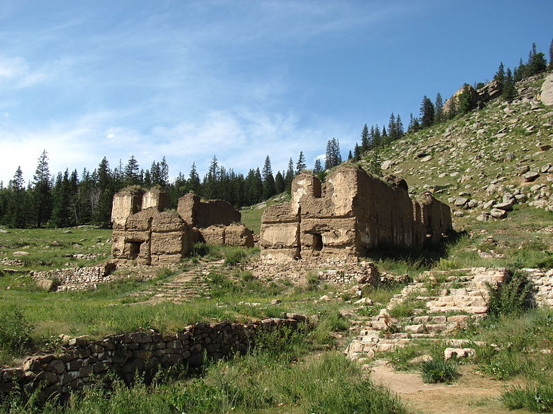 Colour photograph of the remains of the destroyed monastery