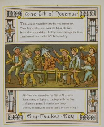 Guy Fawkes Day poem with picture of a guy being carried by boys
