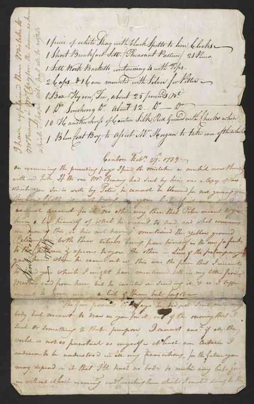 List of goods sent home by John MacIntyre in 1777