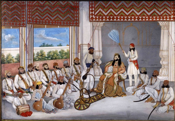 Nawab 'Abd al-Rahman in his court in hot weather with various musicians and courtiers. By Ghulam 'Ali Khan, May-June 1849. British Library, Add.Or.4680.