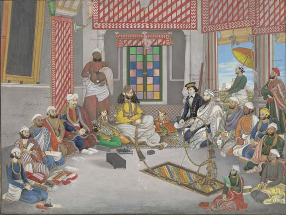 Nawab 'Abd al-Rahman of Jhajjar in his court in cool weather with his two young sons and various courtiers and attendants. By Ghulam 'Ali Khan, dated January-February 1852. British Library, Add.Or.4681
