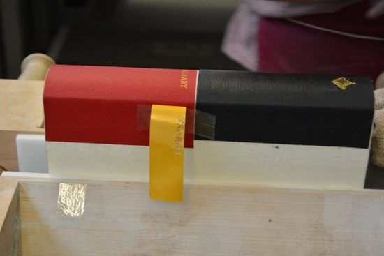 The gold foil piece has been removed, showing the word LIBRARY in gold pressed into the spine's leather.