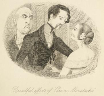 The young man imprints a moustache on the young lady