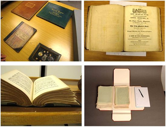 Four images in a grid. Top right: a selection of books rest flat on a table. Top left: a books rests open on a table, the picture taken from above. Bottom right: a book rests open on a table; the picture is taking from a lower vantage point showing the bottom edges of the pages and spine. Bottom left: loose leaf materials along with a notepad and pencil rest on a grey surface.