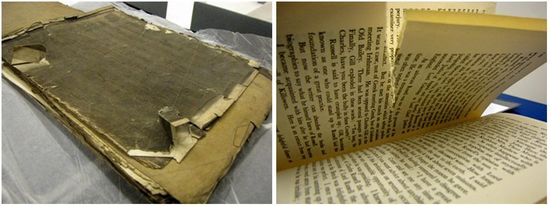 Two images side-be-side. Left: a book with a damaged cover rests on a table. The book is longer than it is taller. The cover is brown-ish in appearance, looking rather scuffed and degraded. Along the edges of the cover pieces of board are lifting up and tearing away. A piece of paper has come loose from the textblock and overhangs from the boards, showing damage along the edges as a result. Right: A book open to show tears running horizontally along a couple pages.