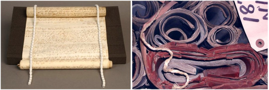 Two images side-by-side. Left: a rolled item is placed on a black foam wedge and opened slightly--the remainder of the scroll is still rolled up at both the top and bottom. This is held open with a snake weight on each side of the rolled item. Right: a variety of rolled items rest on top of one another. They are crumpled and crushed due to incorrect storage.