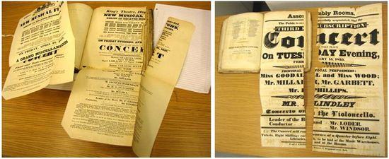 Two images side-by-side. Left: A book is open to show two foldouts advertising concerts. The foldouts have been unfolded, ans the foldout on the right-side page has a large tear running the length of one fold vertically. Right: Another book is open with a foldout unfolded advertising a concert. This foldout is completely in two, tearing along the fragile fold lines.