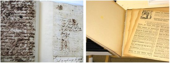 Two images side-by-side. Left: A book open to pages with text written in iron gall ink, which appears in a brown tone against a soft white paper. There is quite a bit of haloing around the writing, suggesting that the ink is degrading and potentially causing the paper to be fragile. Right: A few pages are loose from a volume.