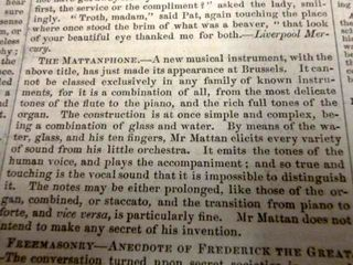 An example of newsprint. The text in this image is talking about the Mattanphone, a new musical instrument claiming to be a combination of all instruments at once.
