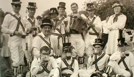 Roy Dommett with fellow morris dancers in Abingdon