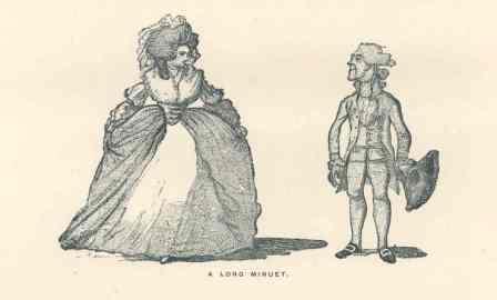 Man and woman dancing a minuet