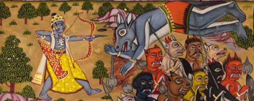 Detail showing Rama fighting the demons