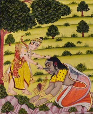 Detail showing Lakshman mutilating Shurpanakha
