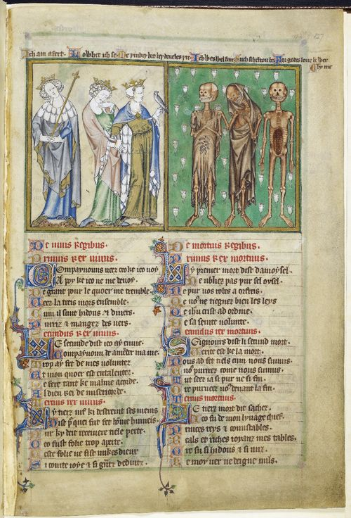A page from the De Lisle Psalter, showing an illustration of The Three Living and Three Dead above an Anglo-Norman poem.