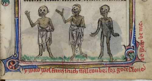 A marginal illustration of the Three Dead, from the Taymouth Hours.
