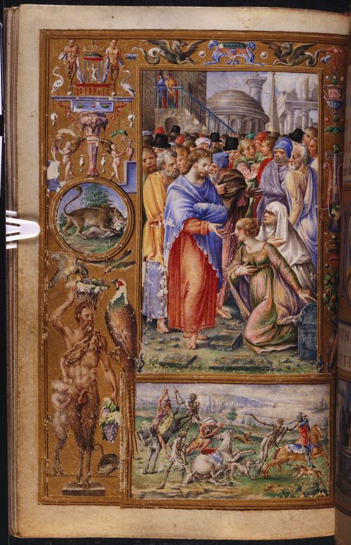 A page from the Stuart de Rothesay Hours, showing an illustration of the Raising of Lazarus and a scene of the Three Living and the Three Dead.