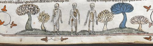 A marginal illustration of the Three Dead, from the Smithfield Decretals.