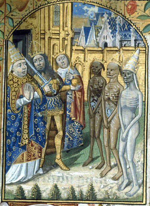An illustration of the Three Living and Three Dead, from a late 15th-century Book of Hours.