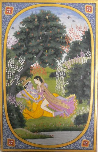 Radha makes love to Krishna in a grove. An illustration to the Rasikapriya of Keshav Das. Kangra, c. 1820. Attributed to Purkhu and his school. 248 by151 mm; page 272 by 177 mm. Add.Or.26, acquired 1955 (Falk and Archer 1981, no. 548).