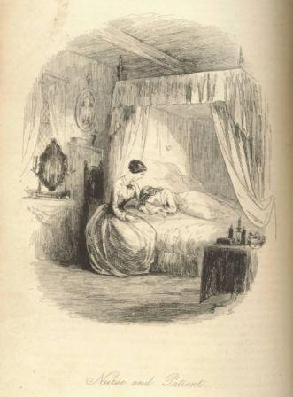 Woman sitting by bed of sick young woman