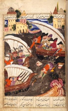 Imam Quli Khan's soldiers in boats repulsed by the Portuguese at Hurmuz