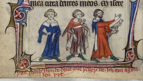 A marginal illustration of the Three Living, from the Taymouth Hours.