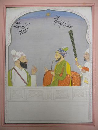 Raja Ranjit Singh of Suket (reg.1762-1791) with his younger brother Kishan Singh. By a Kangra artist, c. 1780. 224 by 165 mm. Add.Or.5601, acquired 2006. From the collection of W.G. and Mildred Archer (Archer 1973, vol. 1, p. 283, vol. 2, p. 197)