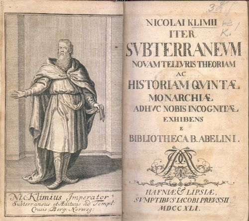Title-page og 'Nicolai Klimii iter subterraneum' with a frontispiece illustration of the eponymous hero