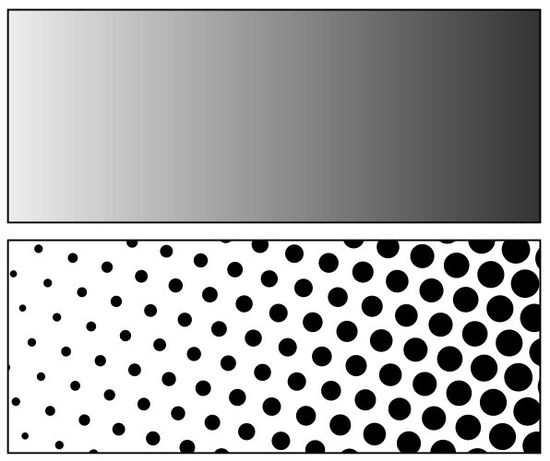 Halftoning is a term used in the print industry to describe how to reproduce varying tones with significantly fewer inks. Image at the top shows the gradient and the image at the bottom shows a close up of the dots that make up the gradient