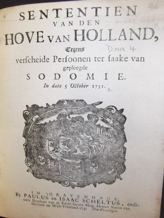 Title-page of a 1731 Dutch law against 'sodomy'