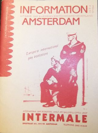 Cover of the Gay Switchboard's guide to Amsterdam, with a picture of two sailors