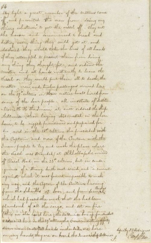 Page of letter from Major Atkins Hamerton to Arthur Malet