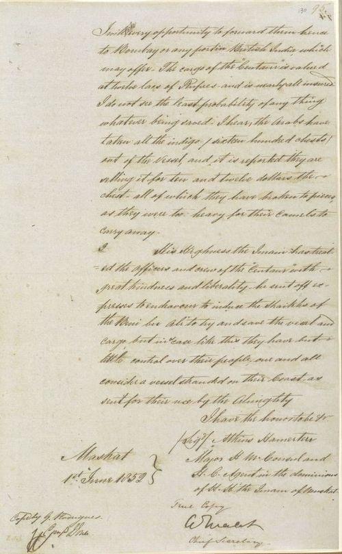 Page of letter from Major Atkins Hamerton to Arthur Malet