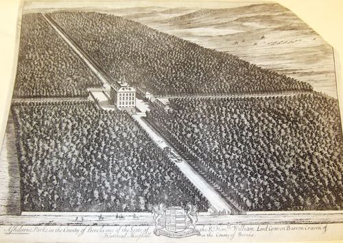 Engraving of Ashdown House and surrounding forested parkland