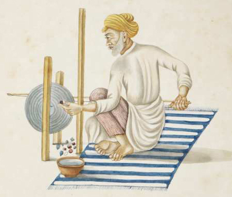 An Indian seal engraver, preparing jewels for seal rings, drawn in the Benares style, ca. 1825.  British Library, Add. Or. 169.