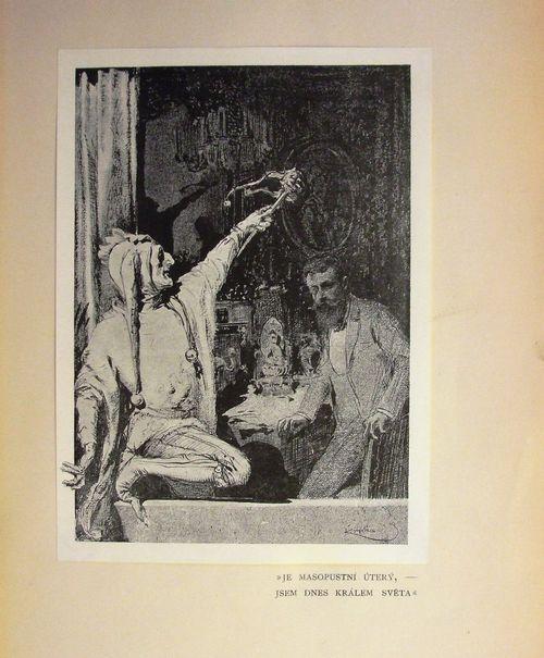 Illustration of a Jester outside a bearded man's window