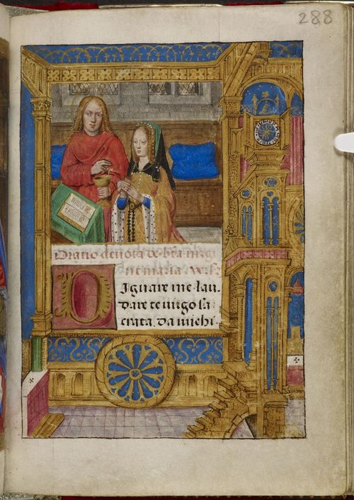A page from the Hours of Joanna the Mad, showing an illustration of Joanna praying alongside the Evangelist St John.