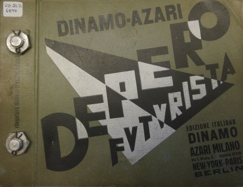 Cover of 'Depero futuristo' showing the two metal bolts that hold the book together
