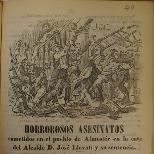 Illustration of a murderous attack on a house in Almoster