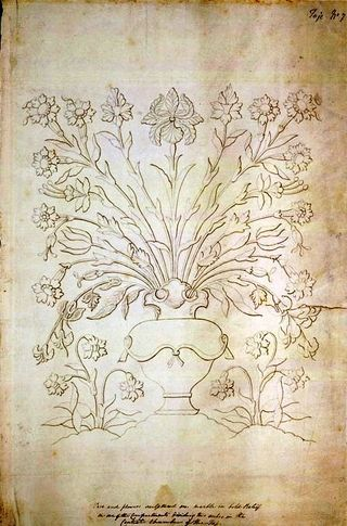 Vase of flowers in marble relief on the dado of the Taj Mahal tomb chamber, begun 1631..  Agra artist, c. 1810-15.  Add.Or.1771.