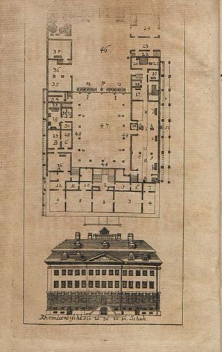 Ground-plan and external view of the Waisenhaus in Halle