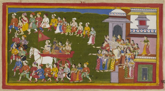 Sahib Din, Rama is driven into exile as Dasaratha and the queens bid farewell, c. 1650. British Library, Add.15296(1), f. 56r